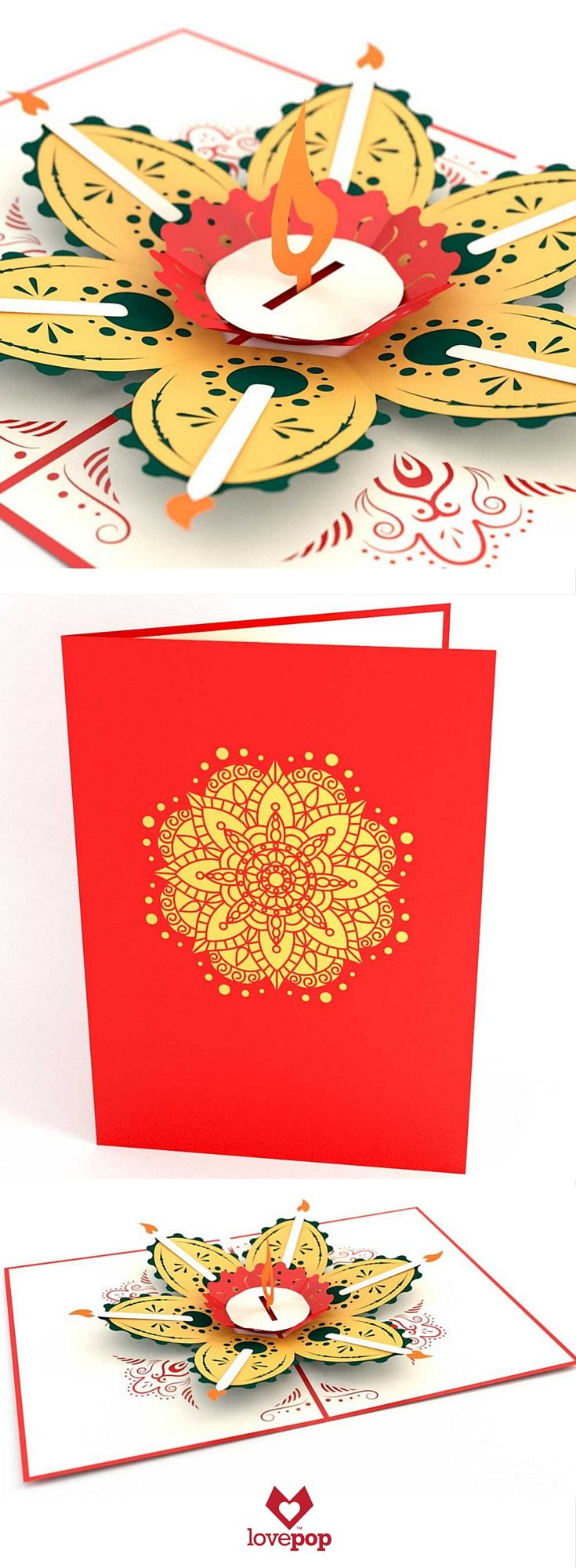 Celebrate the festival of lights with this Diwali pop up card. Beautiful paper art to celebrate with friends and family.