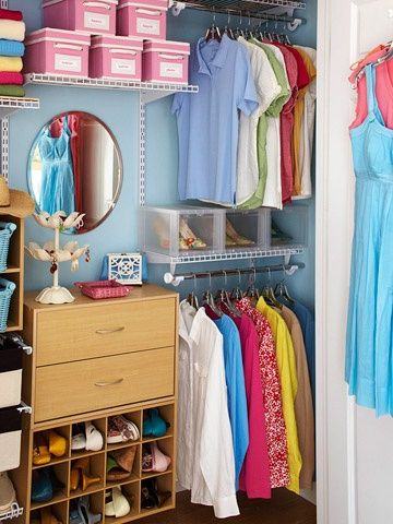 Paint the insides of your closets so they look like a room.  Use hangers that are uniform and only keep essential clothing pieces that can be mixed and matched to achieve endless looks. This is an awesome way to organize a closet to save space in a small room. I love this because my closet isn't a walk-in and is really small...I just love the look of | http://home-decor-inspirations.blogspot.com
