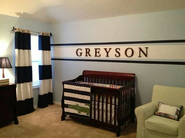 Not the exact bedding that we're getting but I like the wall color, the name above the crib, and the curtains.