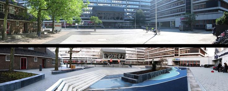 A once-empty, monotonous square now holds three large rainwater collection ponds which, when the weather is dry, can be used as amphitheatres, basketball and volleyball courts, or skateboarding rinks.