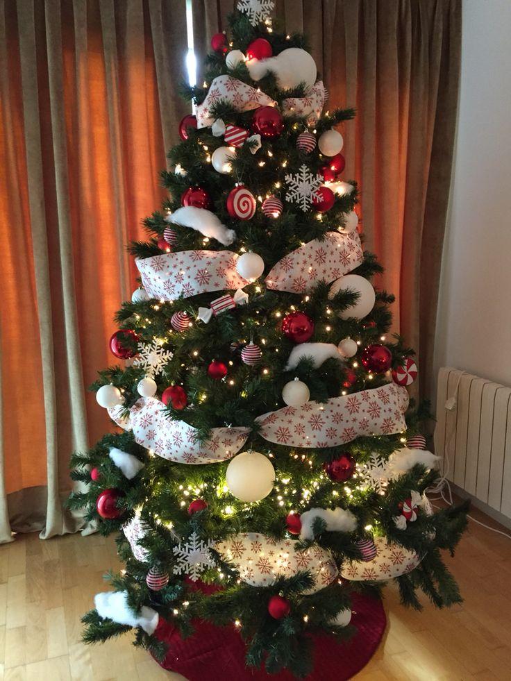 Rojo blanco árbol de Navidad
