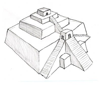 how to draw a ziggurat step by step