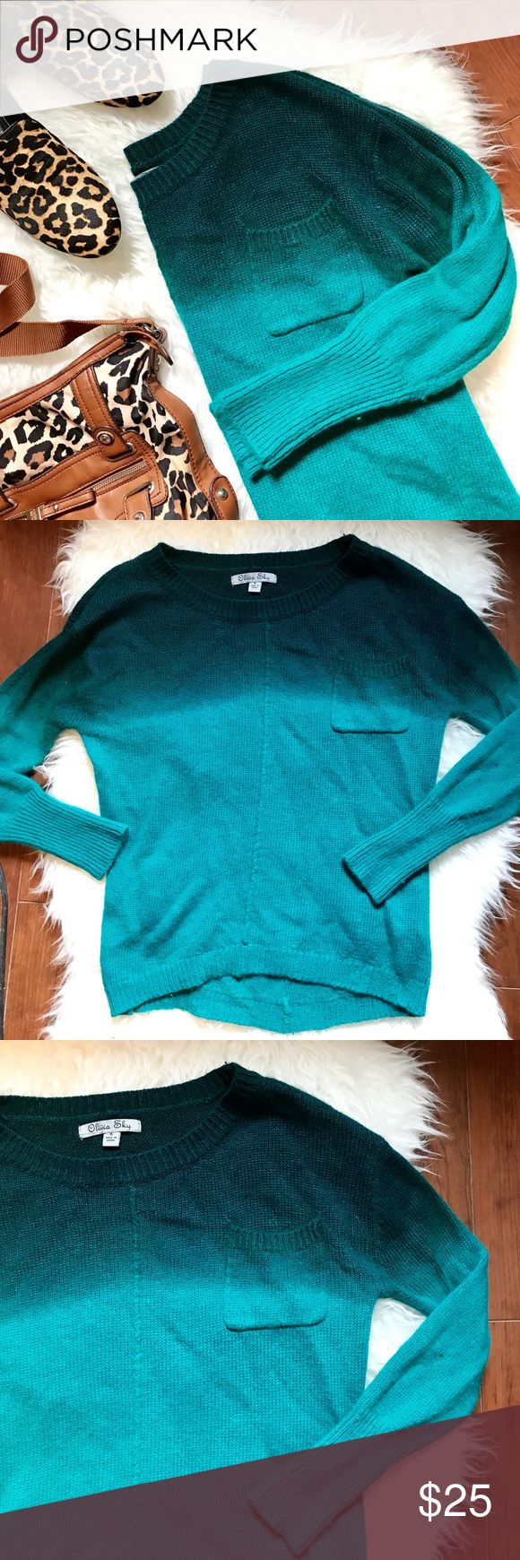 """Olivia Sky Emerald Green Ombré Sweater As the weather gets colder the styles only get hotter. Snuggle up in this gorgeous emerald sweater. With its cozy material, trendy color and Ombré design this sweater is perfect for fall fun. Some pilling.   20"""" Pit to Pit 23"""" Front - 25"""" Back Shoulder to Hem  Also for available from Covershot: Tyler Rodan Purse  ✅ Offers welcome through offer button ✅ Bundles welcome through bundle feature ✅ Questions or comments ❌ No trades, modeling or holds Olivia…"""