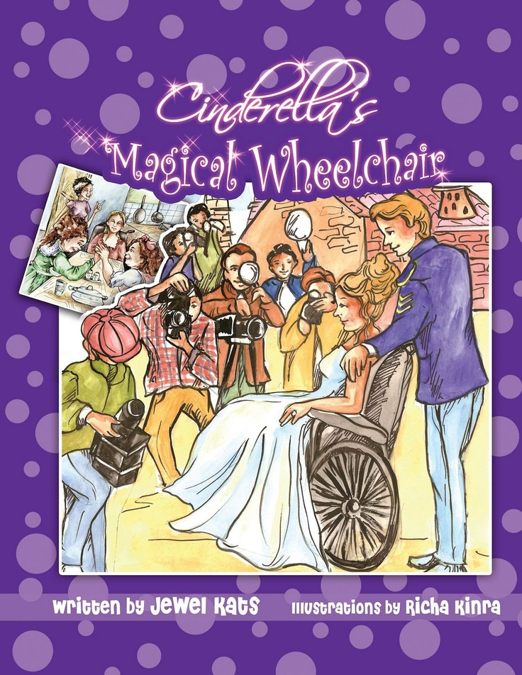 Cinderella's magical wheelchair : an empowering fairy tale by Jewel Kats.  In this adaptation of the Grimm fairy tale, wheelchair-bound Cinderella perfumes her stepmother's gym socks by day and creates her own jewelry by night, until a fairy-godmother-in-training adds some magic that allows Cinderella to transform her life-- and meet the prince.  WALSH JUVENILE  PZ7.K157445 C55 2011