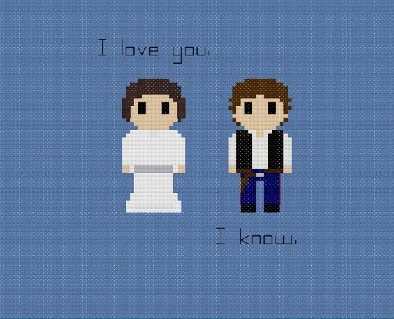 This pattern features Han Solo and Leia from Star Wars with the quote, I love you. I know. Please note that the pattern is made with a white