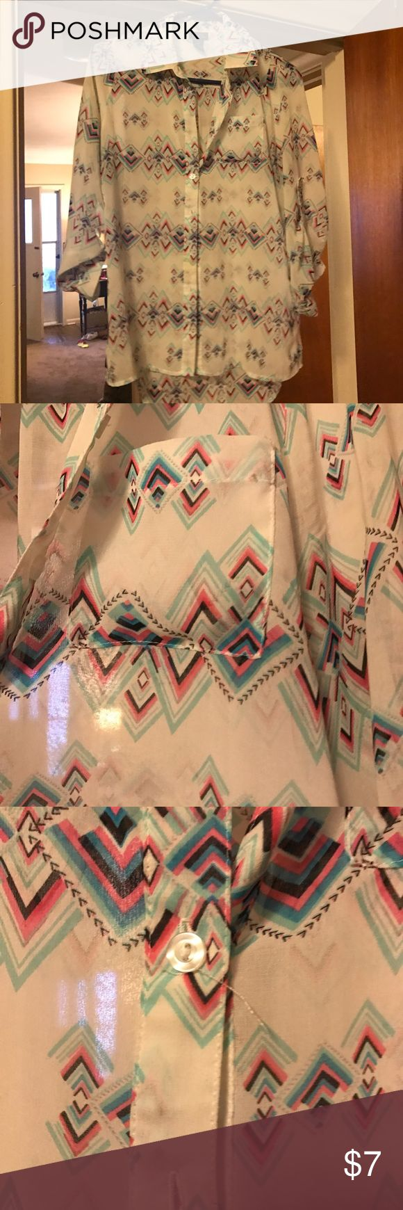 Rue21 Aztec Blouse Pink/Mint/Black Aztec pattern with white background. Has chest pocket. There is one button with a string getting loose (shown in picture) Rue 21 Tops Blouses