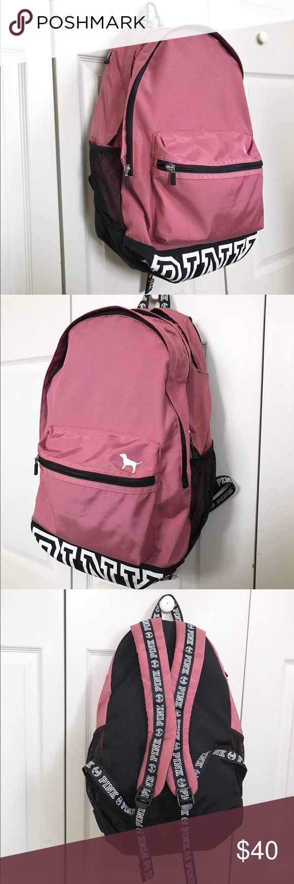 "Pink Backpack Pink Backpack, only used 3 months for school. Great campus backpack. Has 3 compartments, laptop sleeve big enough for a 15"" MacBook, cupholders on each side, and adjustable padded straps. PINK Victoria's Secret Bags Backpacks"