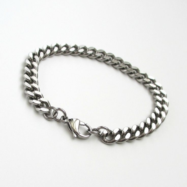 Thick stainless steel chain bracelet, men's steel bracelet, women's steel bracelet, 7mm curb chain by TattooedAndChained on Etsy https://www.etsy.com/listing/194485821/thick-stainless-steel-chain-bracelet