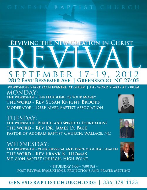 Genesis baptist church revival promotional flyers by for Free church revival flyer template