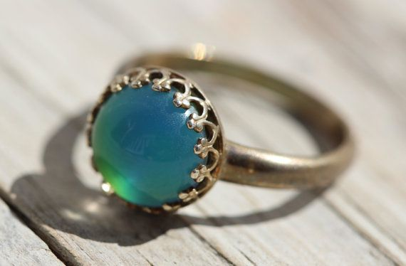 Sterling Mood Ring Boho Chick Gypsy Hippy Mood Antiqued by Belukro, $29.99