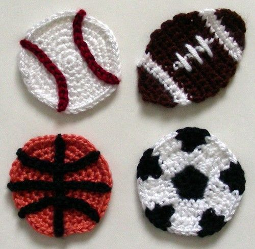 Crochet sports appliques