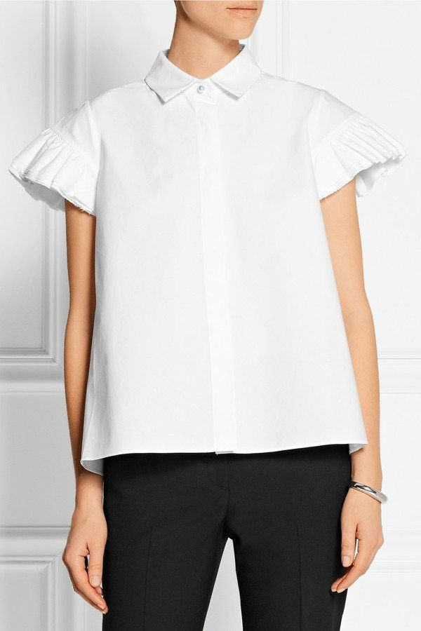 Women Chiffon Ruffled White blouse