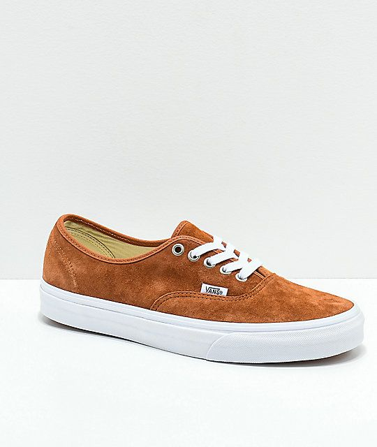 1dfeea3502109c Vans Authentic Brown Pig Suede Skate Shoes