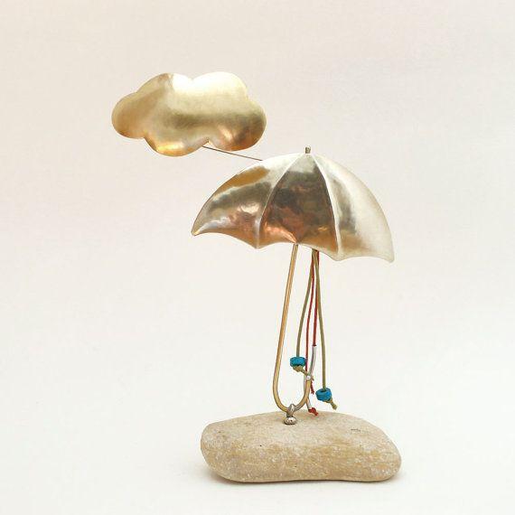 Umbrella and cloud,paper weight,desk accessory,desk decor,friends-coworkers gift idea,handmade office decor,home decor,art sculpture figure
