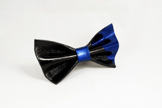 Black and cobalt blue shiny bow tie by LimeG on Etsy