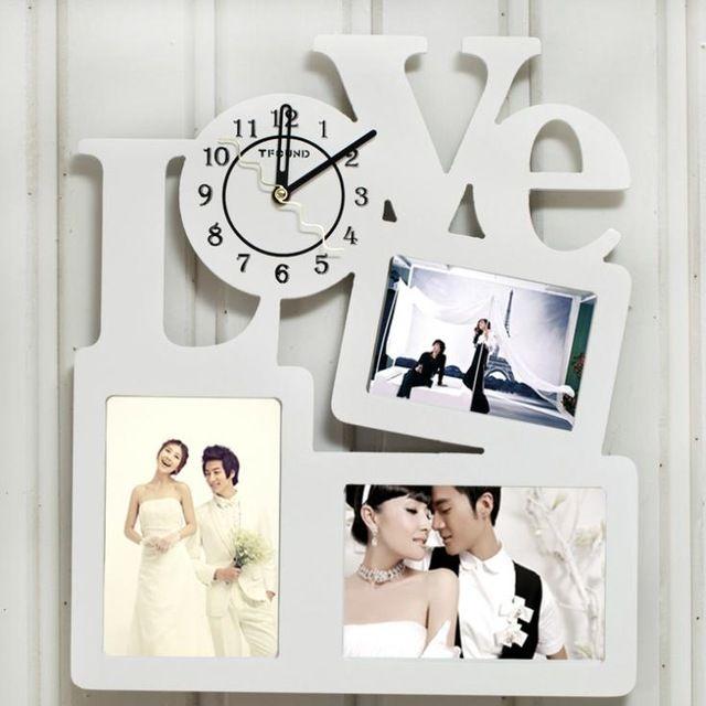 Venta caliente fastion moderno novedad amor decorativo multi marco de fotos reloj de pared de madera para la foto en la pared