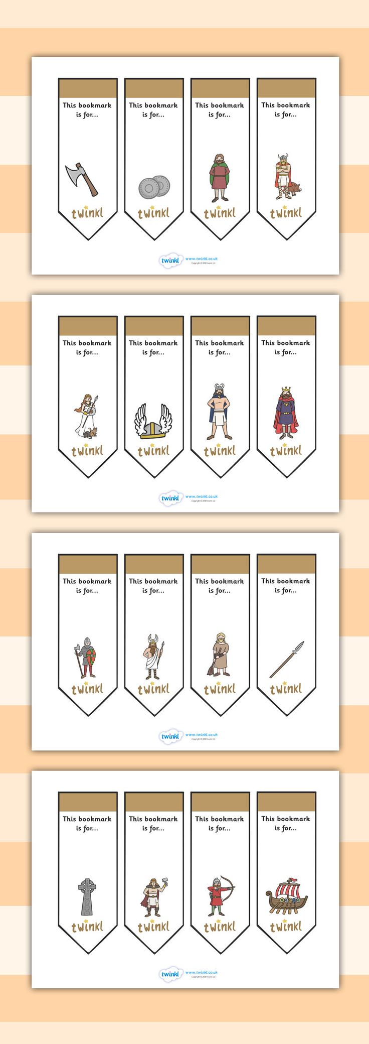 Twinkl Resources >> Editable Bookmarks Vikings >> Thousands of printable primary teaching resources for EYFS, KS1, KS2 and beyond! bookmarks, themed, vikings