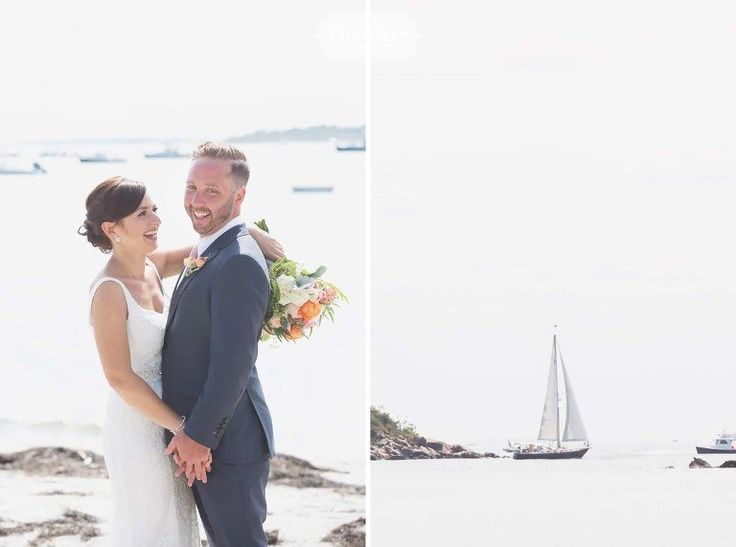 Bride And Groom With A Sailboat Behind Them On The Beach In Manchester By Sea