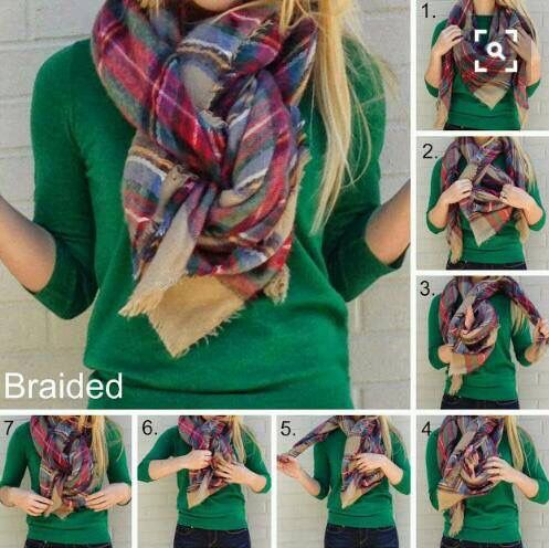 Braided blanket scarf