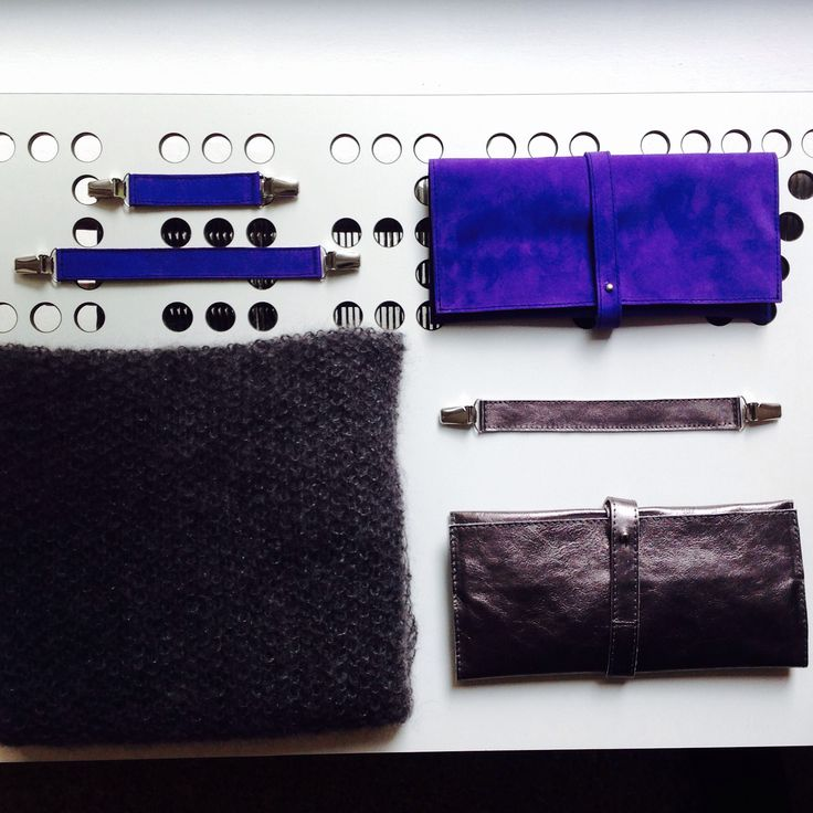 leather clip belts, clutch and hand-knitted mohair and silk scarf, LEEDA
