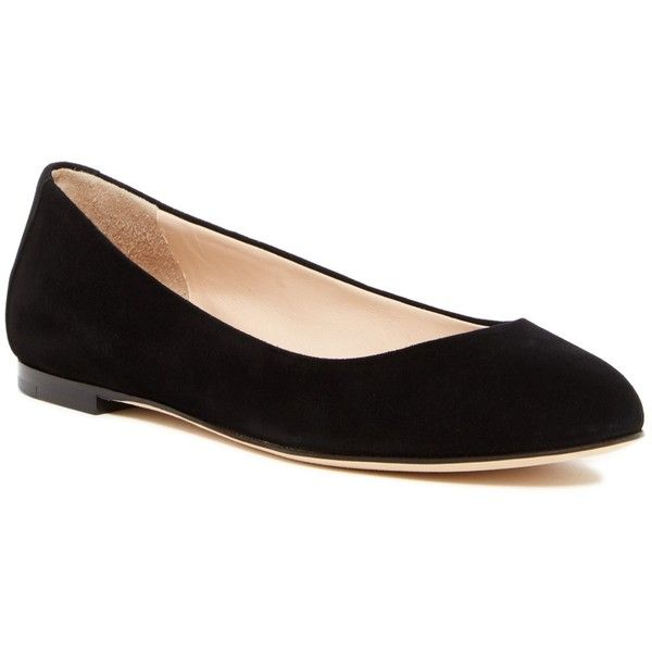 Sergio Rossi Ballerina Flat ($260) ❤ liked on Polyvore featuring shoes, flats, black, black suede shoes, black ballet shoes, black slip-on shoes, slip on shoes and round toe ballet flats