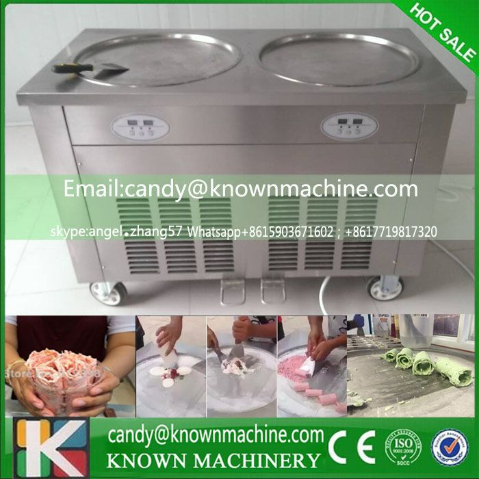 Double Pan Fried Ice Cream Machine With 5 Boxes Roll Ice Yogurt Maker 22L H 110v