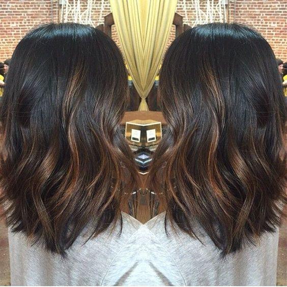 Black Balayage Hair Color for Short Hair