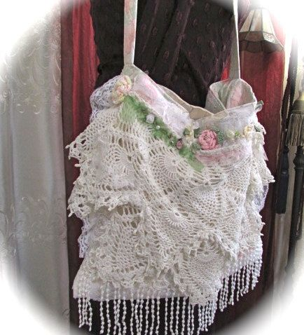 Layered Doily Purse in a shabby romantic by TatteredDelicates
