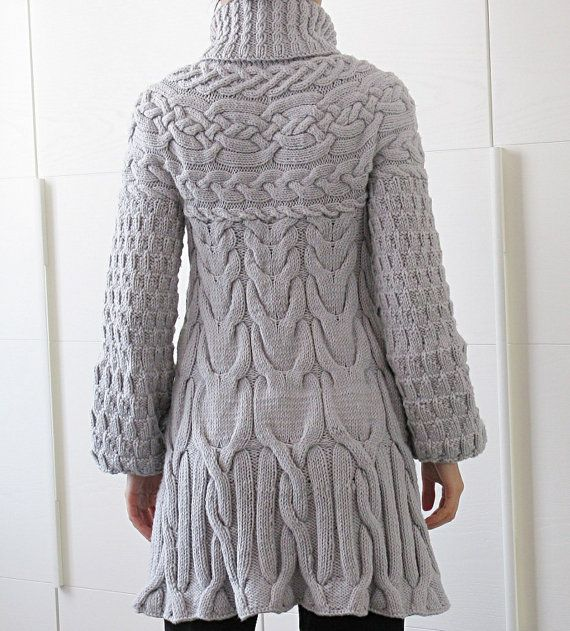 Minimissimi Sweater Coat - Cozy chunky cabled sweater coat knitting pattern, available for instant download. This sweater coat is worked from the top down. The cables are carefully arranged to give a slimming silhouette without adding extra bulk. Measurements are given in both centimeters and inches. The yoke and the cables are charted only. Each size has its own set of charts, which are printed full size for easy reading. YARN ===== Worsted weight S...