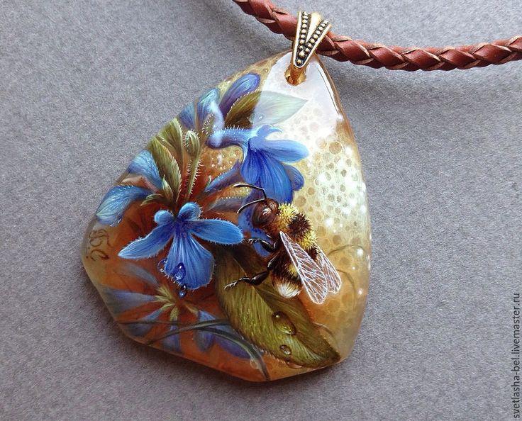 Купить Мохнатый Шмель... - разноцветный, лаковая миниатюра, кулон, живопись…