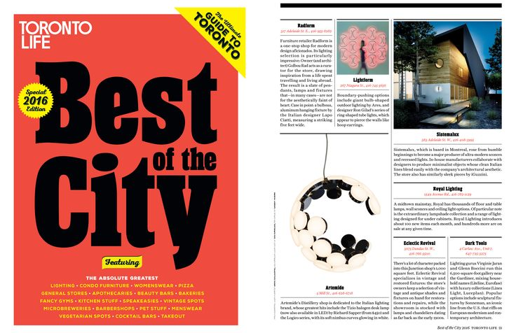 RADform was voted as the 'Best of the City' by Toronto Life Magazine. #radform #press #media #design #homedecor #interiordesign #moderndesign #accessories