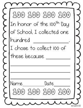 100th Day of School Activity - Free Printable