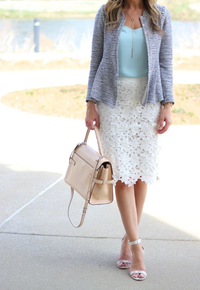 mint top + white lace skirt