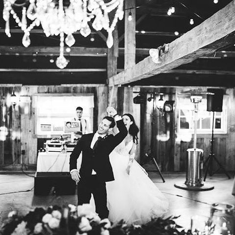 @helenvilleneuve and @villy881206 having a ball! Stunning angle shot by #jessicarosephotography Decor by @iluph_events, and all the hearts in your eyes courtesy of the happy couple ❤️😍 #meetthevillys  #weddinggoals #ottawawedding #barnwedding #blackandwhite #happycouple #beautiful #ottawabride #ottawa #iluphwedding#chandeliers