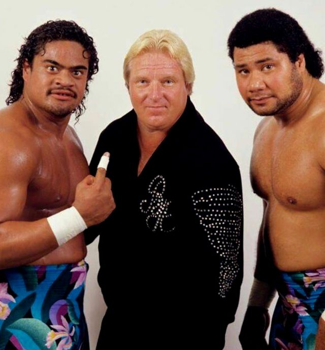 "The Islanders Tama and Haku with Bobby ""the Brain"" Heenan"