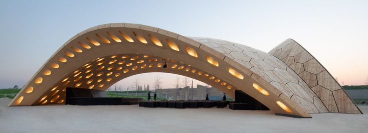 BUGA wood pavilion comprises segments that fit together like a puzzle