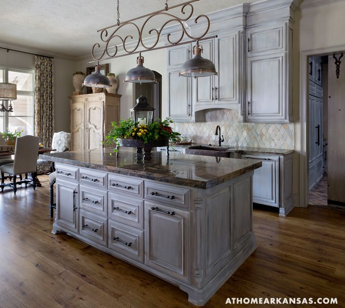 European Union | At Home Arkansas | June 2014 | Photography: @Nancy Nolan Photography | Custom kitchen cabinets feature a blue-gray glaze reminiscent of the patina of antique painted furniture.