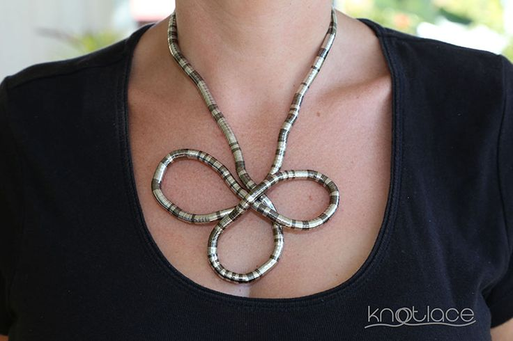 Original Knotlace or bendy necklace – Silver and Gunmetal - http://www.knotlace.com.au/ #style #fashion #accessory #jewellery #silveraccessory