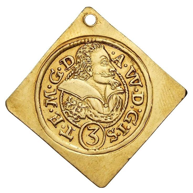 Gold 2 ducats square klippe coin of Duke Adam Wenceslaus of Teschen (Cieszyn) by Cieszyn Mint, 1612, Münzkabinett der Staatlichen Museen zu Berlin