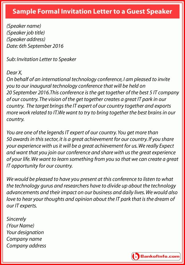 Formal Invitation Letter Guest Speaker Letters Free