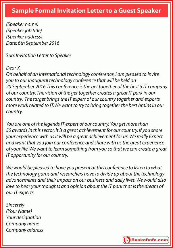 formal invitation letter guest speaker letters free