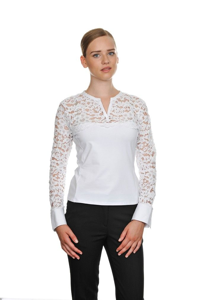 T-shirt in cotone pizzo bianco   DONNA AI 15-16