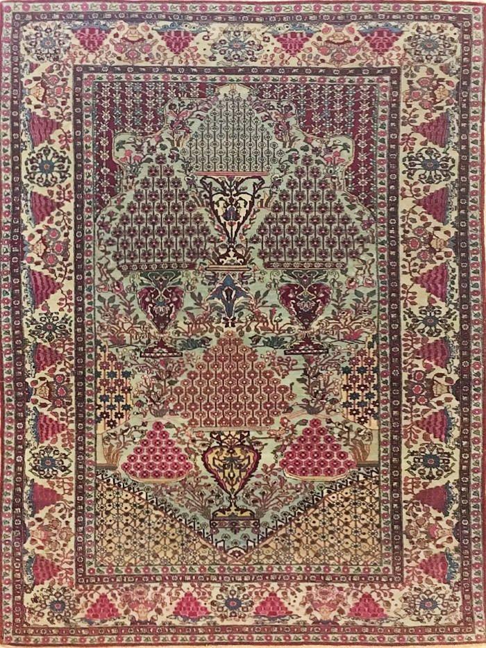 10% Sconto-Tappeto antico tehran persiano, 215x138 cm -1890-1900 di arteditappeti su Etsy