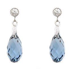 Swarovski Elements Teardrop Sea Blue Stud Earrings