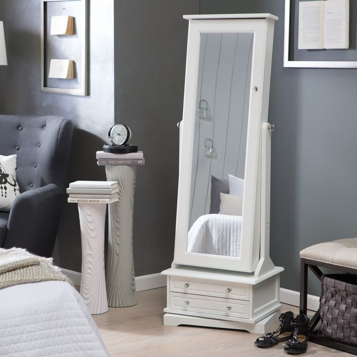 Belham Living Swivel Cheval Jewelry Armoire - White - The Swivel Cheval Jewelry Armoire - White accommodates different sizes and styles of jewelry and makes them easier to access. Open the full-length mir...