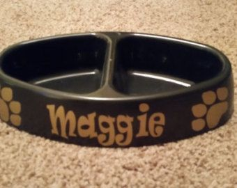 Dog Bowl - bone shaped bowl or oval bowl - personalized with name and paw prints - Edit Listing - Etsy