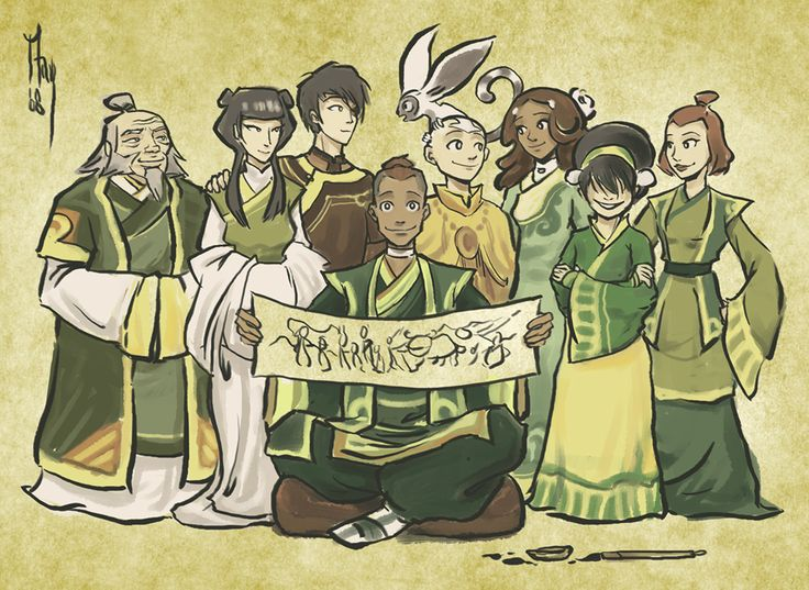 Avatar the Last Airbender: General Iroh, Mai, Zuki, Sokka, Aang, cute little Momo the flying lemur monkey, Katara, Toph, Suki :D