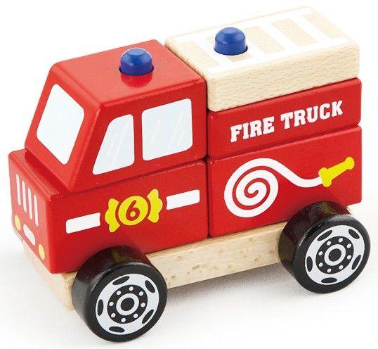 Deze stoere brandweerauto is zo speciaal, omdat het ook een stapel-puzzel is! Op het onderstel zitten 2 pinnen waar je de blokjes op stapelt tot een mooie auto.   Afmeting: 90x160x160 mm - Stapel Auto New Classic Toys: brandweer 13x10x8cm