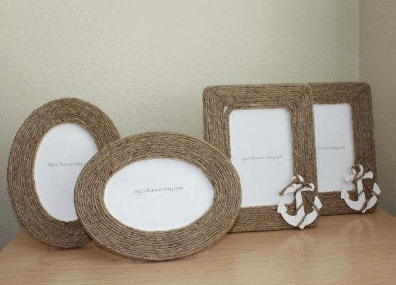 nautical picture frames in natural jute by jojosbazaar on etsy 1500 - Nautical Frames