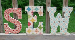 Sew by Fresh LemonsWoman Cave, Modge Podge, Mod Podge, Sewing Letters, Crafts Room, Decoupage Letters, Podge Letters, Podge Sewing, Sewing Rooms